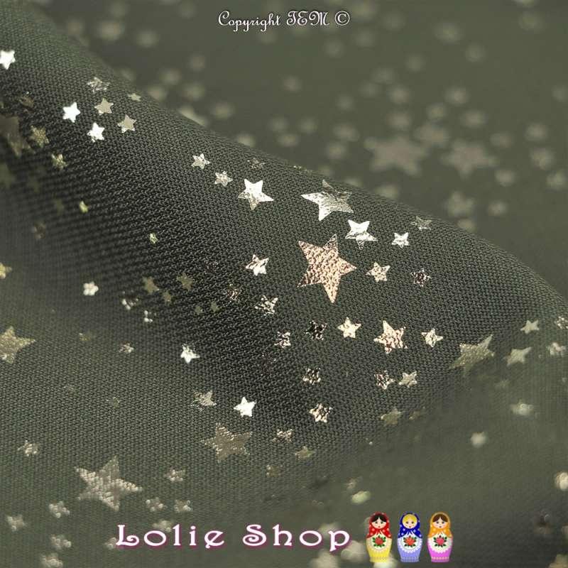 Tissu Microfibre Kaki Métallisé Dorure Étoiles