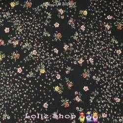 Tissu Viscose Imprimé Motif Fleurs Parssemé  Fond Noir