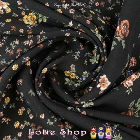 Tissu Viscose Imprimé Motif Fleurs Fond Noir