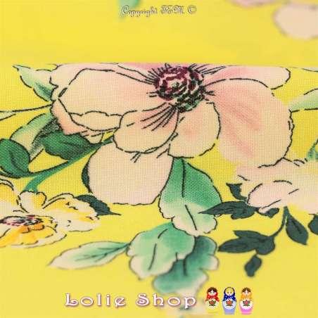Tissu Viscose Imprimé Motif Florale Fond Jaune