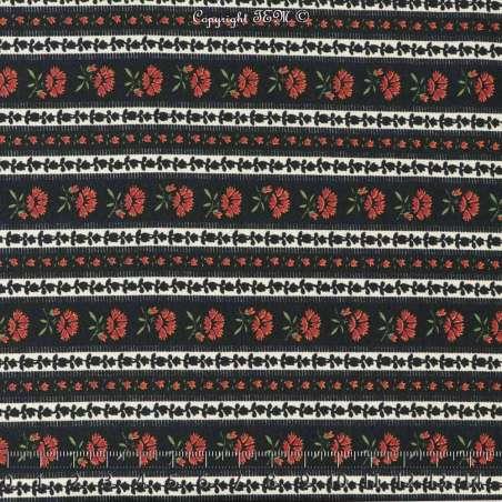 Tissu Viscose Imprimé Motif Fleurs en Lignes Fond Noir
