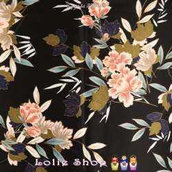 Satin Duchesse Haut de Gamme Imprimé Fleurs Fond Noir