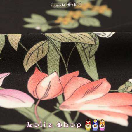 Tissu Microfibre Imprimé Fleurs dégradées Fond Noir