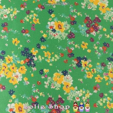 Double Crêpe Satiné Imprimé Fleurs Fond Vert