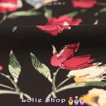 Crêpe Imprimé Esquisse de Fleurs Fond Noir