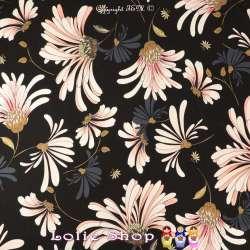 Jersey Viscose Imprimé Fleurs Osteospermum Fond Noir