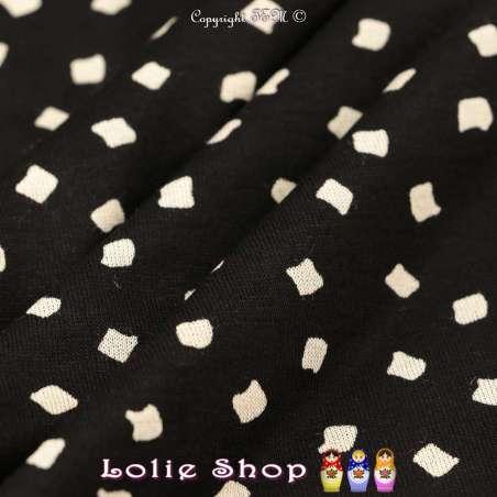 Jersey Viscose Imprimé Formes Graphiques carré difformes couleur Écru sur Fond Noir