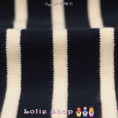 Jersey Coton Maille Bloqué Tissé Rayures Couleur Marine