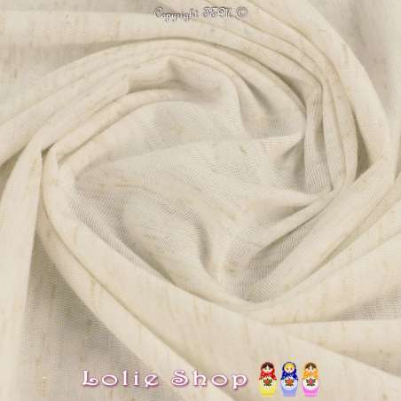 Jersey Couleur Blanc Cassé Chiné Lurex Or