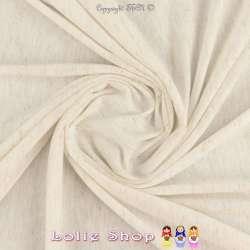 Jersey Couleur Blanc Cassé Chiné Lurex Or