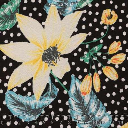 Crêpe Imprimé Grandes Fleurs Ton de Couleurs Pastel Fond Noir à Pois Blanc