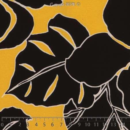 Crêpe Imprimé Feuilles Tropicales Noires Fond Moutarde