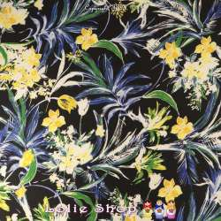 Twill Sergé Imprimé Fleurs Ton Jaune Bleu & Vert Sur fond Noir