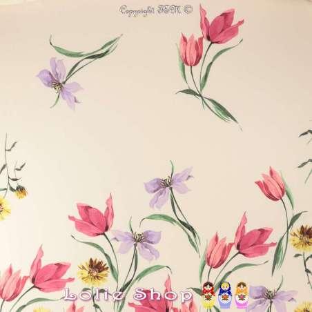 Double Crêpe Satiné Imprimé à Base Fleurs Tulipe Fond Crème