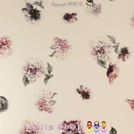 Crêpe Satiné Imprimé Grosses Fleurs Fond Écru