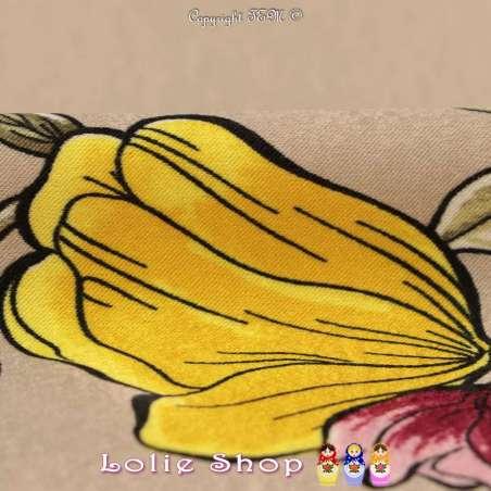 Satin Brillant Imprimé à Bases Fleurs Ton Jaune Fond Chamois / Queue de vache