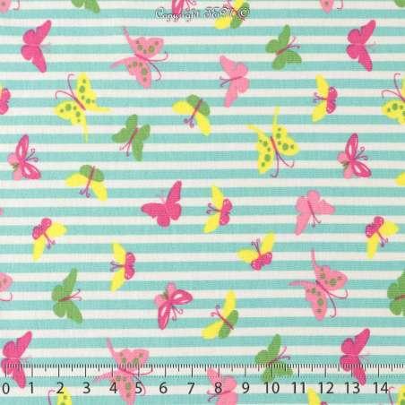 Jersey Coton Imprimé Motif Papillons Fond Marinière Turquoise