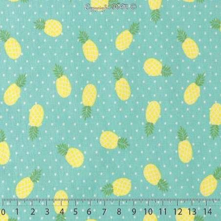 Tissu Jersey Coton Imprimé Ananas Jaunes Turquoise à Pois Blanc