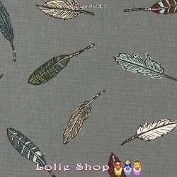 Jersey Coton Imprimé Motif Plumes D'oiseaux Fond Anthracite