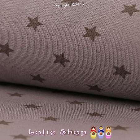 Jersey Bord Côte Tubulaire Taupe Imprimé Étoile