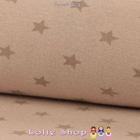 Jersey Bord Côte Tubulaire Sable Imprimé Étoile