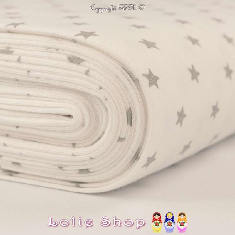 Jersey Bord Côte Tubulaire Blanc Optique Imprimé Étoile Grise