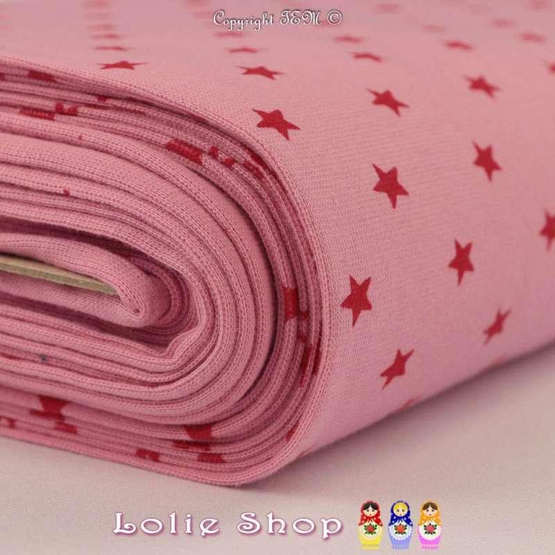 Jersey Bord Côte Tubulaire Rose Imprimé Étoiles