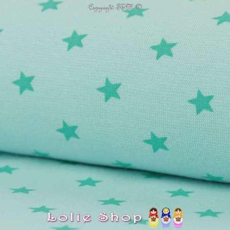 Jersey Bord Côte Tubulaire Turquoise Imprimé Étoiles