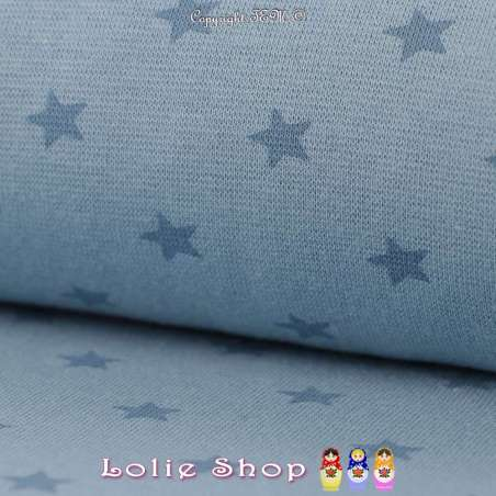 Jersey Bord Côte Tubulaire Bleu Indigo Imprimé Étoiles