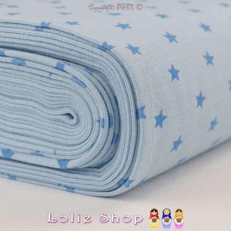 Jersey Bord Côte Tubulaire Bleu Ciel Imprimé Étoiles