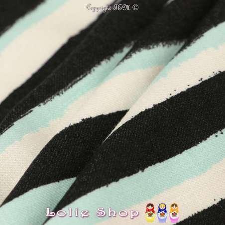 Tissu Piqué Viscose à Rayures Noires Blanches & Turquoise