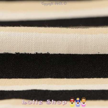 Tissu Piqué Viscose à Rayures Noires Blanches & Beige