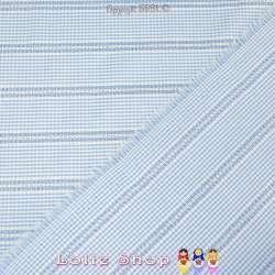 Jacquard Coton Imprimé Vichy Couleur Bleu Ciel