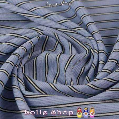 tissus-Double Crêpe Modèle MAÏLEEN Rayures Ton Bleu
