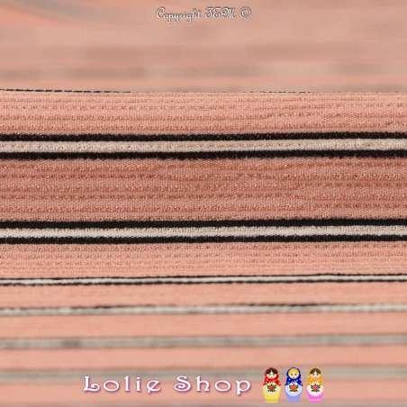 Double Crêpe Modèle MAÏLEEN Imprimé Rayures Ton Rose