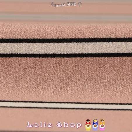 Crêpe Modèle MAÏLYA Imprimé Rayures Ton Rose