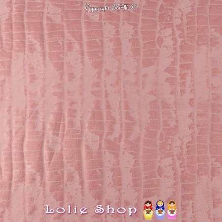 Tissu Suédine Effet Texture Peau de Croco Couleur Rose