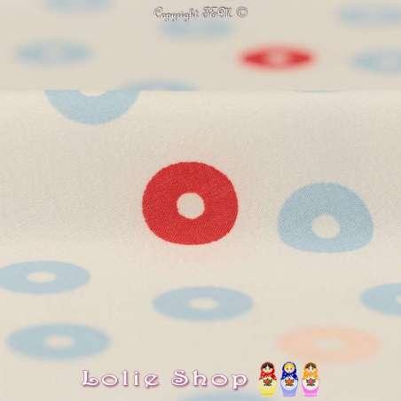 Microfibre Élasthanne Imprimé Cercles Bleu Rouge Saumon