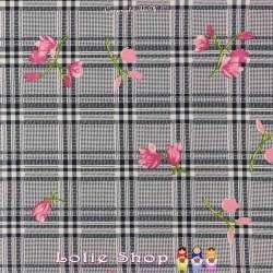 Microfibre Élasthanne Imprimé à Fleurs Fond Quadrillé