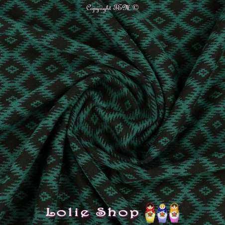 Jacquard Maille Quadrillé Losanges Couleur Noir & Vert
