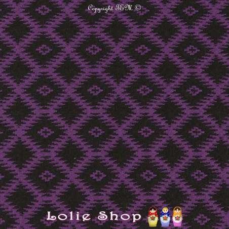 Jacquard Maille Quadrillé Losanges Couleur Noir & Violet