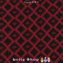 Jacquard Maille Quadrillé Losanges Couleur Noir & Rouge