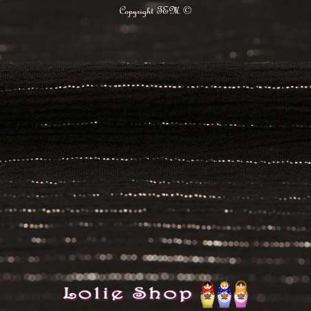 Crépon Viscose Lurex Argent Uni Couleur Noir Modèle : MOLOKAÏ ou HAWAII