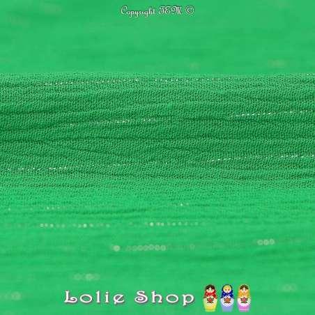 Crépon Viscose Lurex Argent Uni Couleur Vert