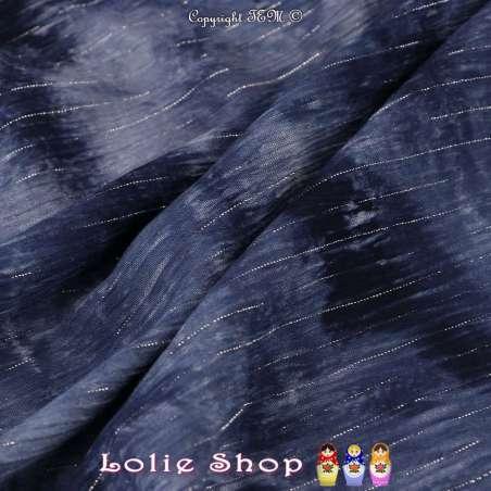 Crépon Viscose Lurex Argent Tie and Dye Couleur Marine