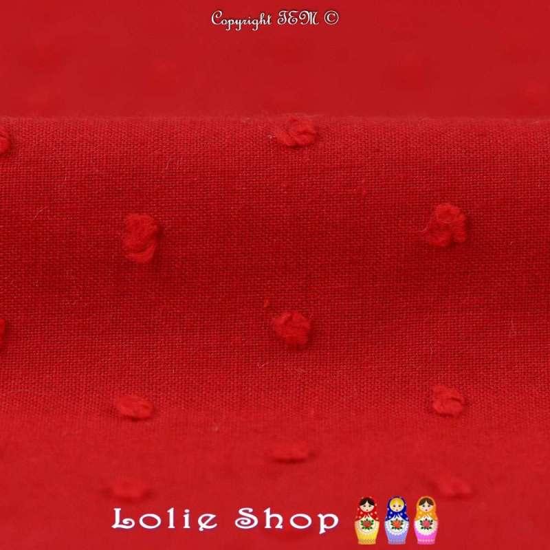 Plumetis De Coton Couleur Rouge