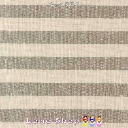 Toile Lin Viscose Coton à Rayure Grise Modèle AVA