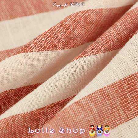 Tissu Toile Mélange de matières nobles : Lin, Viscose, Coton à Rayure Rouge