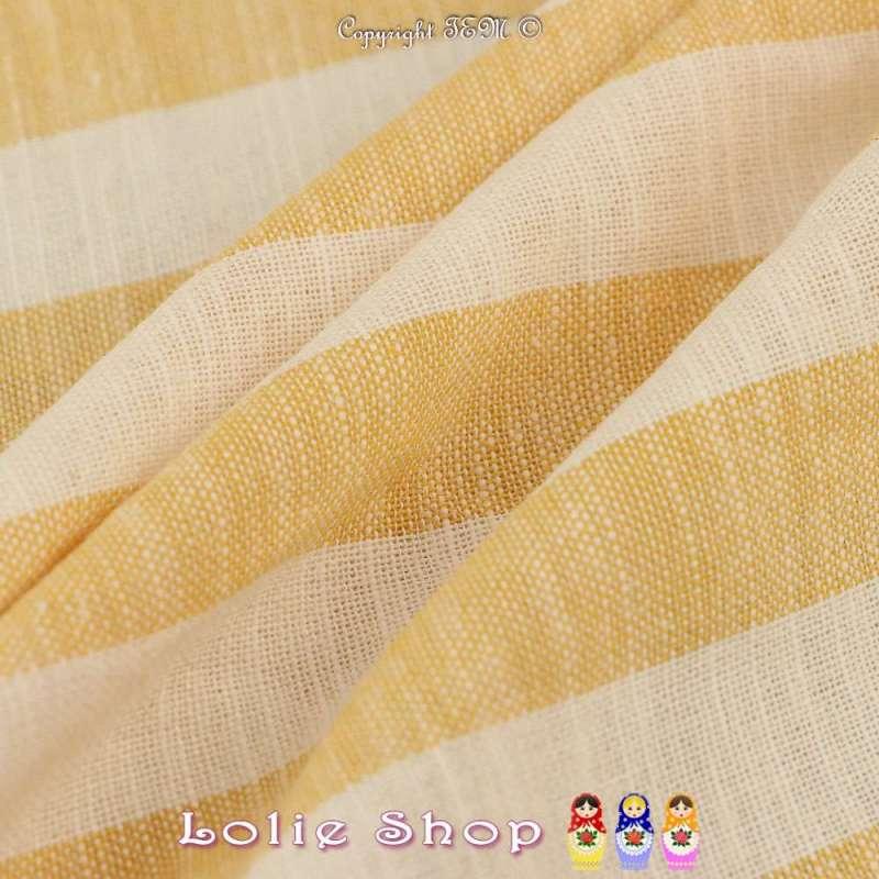 Tissu Toile Mélange de matières nobles : Lin, Viscose, Coton à Rayure Jaune