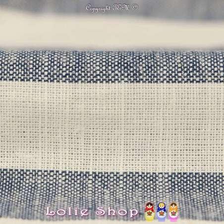 Tissu Toile Mélange de matières nobles : Lin, Viscose, Coton à Rayure Bleu